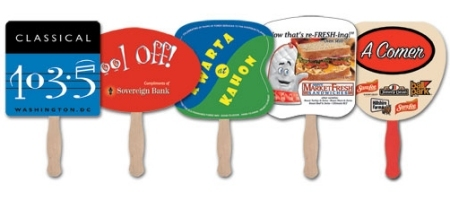 Sample Styles of available wholesale hand fans with custom imprints