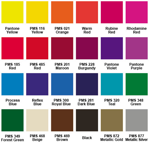 Standard Color Chart for Heavy Duty Handfans