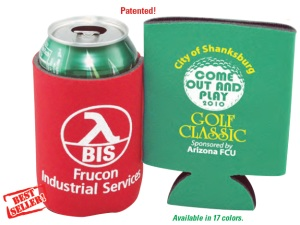 Folding Foam Can Coolers. This example shows a custom logo and message. We provide free assistance in selecting the proper can cooler, creating your personalized message and producing your promotional cooler. Give us a call at 706-374-0710 for assitance and a free quote